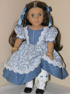 Antique Blue Floral to match Marie Grace's eyes - Dress, Pantalettes, Hair Ribbon $29.99, via Etsy.