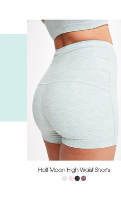 Half moon high-waist shorts This super soft, high waist short is lined with coolmax® for supreme breathability. Small Waist Workout, Beach Tops, High Waisted Shorts, Yoga Fitness, White Shorts, Rain Jacket, Supreme, Smaller Waist