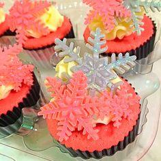 Pink Satin Snowflake Cupcakes