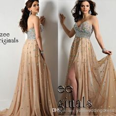 Ritzee Original Empire Organza Beaded Crystal Side Split Champagne Prom Dresses Party 2014 Long Graduation Evening Gowns