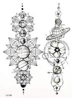 Cool Moon Phases Back Tattoo Ideas for Women Black Geometric Mandala Spine Tat -… Tatto Drawings – Fashion Tattoos Kunst Tattoos, Neue Tattoos, Body Art Tattoos, Tattoo Drawings, Tattoo Art, Tattoo Abstract, Hot Tattoos, Art Drawings, Unique Drawings