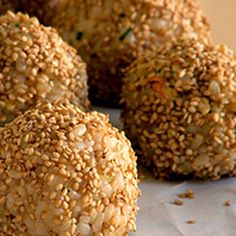 New Years Eve Recipes - Party Food and Drinks for New Years Eve - Delish.com. Brown rice, with mayo. rolled in sesame seeds. Can stuff w/a date, or tempeh
