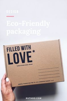 Eco-Friendly Love Filled Packaging — RUTH XO Eco-Friendly love filled packaging made from recycled cardboard and paper, perfect for posting t-shirts and clothing. Cool Packaging, Paper Packaging, Brand Packaging, Packaging Ideas, Design Packaging, Coffee Packaging, Bottle Packaging, T Shirt Packaging, Ecommerce Packaging