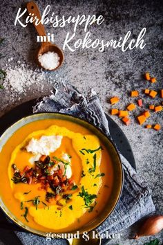 pumpkin soup with coconut milk Whole30 Recipes Lunch, Quick Lunch Recipes, Easy Whole 30 Recipes, Crockpot Recipes, Breakfast Recipes, Pumpkin Soup, Pumpkin Recipes, Coconut Milk Soup, Avocado Salad Recipes