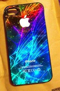 Galaxy Cracked Iphone Case Glow In The Dark Neon