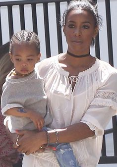 Kelly Rowland with her husband Tim Witherspoon and their son Titan Jewell Weatherspoon at Au Fudge in Los Angeles on April 27, 2016