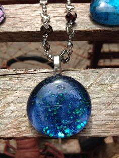 Galaxy Mystery Glass Bead on Silver Sparkle Chain Necklace on Etsy, $18.00
