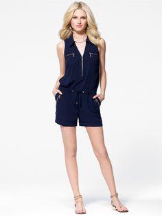 Navy Zipper Front Crepe Romper - Dresses