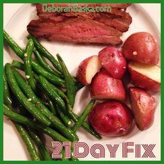 Flank steak, new potatoes and fresh green beans