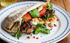 Lamb and date kofte kebabs! Grilled lamb served in pitta bread with fried halloumi, tomato salad, yogurt and lettuce :) Lamb Koftas, Fried Halloumi, Grilled Lamb, Kebab Recipes, Tomato Salad, Good Housekeeping, Places To Eat, Real Food Recipes, Delish
