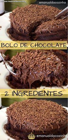 Receita de Bolo de chocolate para fazer apenas com 2 ingredientes, aprenda como e descubra que fica muito delicioso esse bolo, super fácil! #bolo #chocolate #2ingredientes #receitafacil #receitadebolo #comida #culinaria #gastronomia #manualdacozinha #aguanaboca