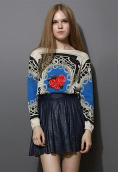 Retro Flower Baroque Pattern Sweater in Ivory - Long Sleeve - Tops - Retro, Indie and Unique Fashion