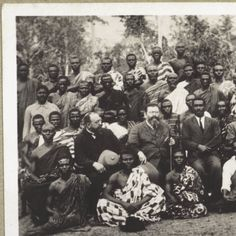 Asante presbyters greeting the Basel missionaries in Bompata in 1926. Look at togas, almost Greek in appearance :: International Mission Photography Archive, ca.1860-ca.1960