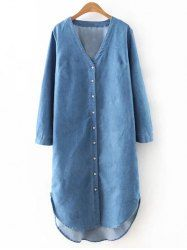 SHARE & Get it FREE | Casual V-Neck High Low Denim Women's BlouseFor Fashion…