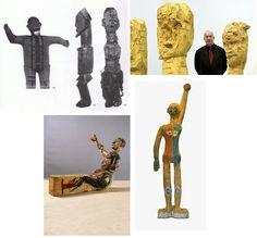 Links boven: Kongoleze Bateke beeldjes uit atelier van Baselitz Linksonder: Modell für eine Skulptur