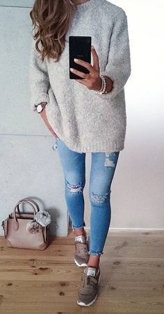 #fall #outfits ·  Grey Sweater // Ripped Skinny Jeans // Sneakers #denimskirtoutif
