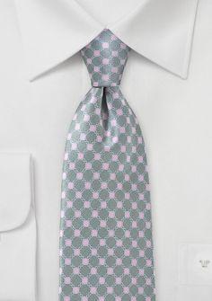 Printed Square & Link Design on 100% Silk Necktie