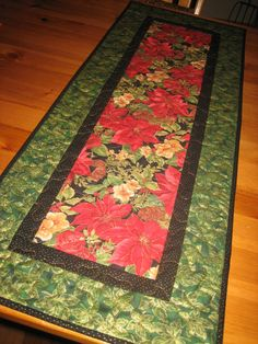 Christmas Table Runner Red Poinsettias And Pine by TahoeQuilts