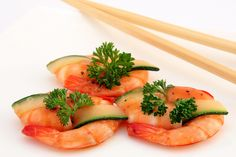 Gourmet Chinese food - broiled king tiger prawns
