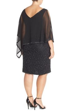 Free shipping and returns on J Kara Chiffon Overlay Beaded Cocktail Dress (Plus Size) at Nordstrom.com. A fluttery asymmetrical overlay drapes soft-focus flattery down the sleeveless bodice of a DBD(divine black dress) alight with beaded shimmer. Slits at the arms and a back V-neckline offer a glimpse of glowing skin.