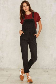 Courtshop Joey Carbon Faded Overall - Clothes | Rompers + Jumpsuits | Denim