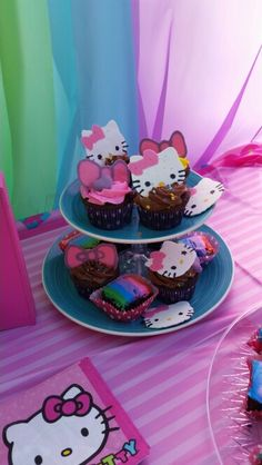Hello kitty party. Diy dollar store stand. Candy melt hello kitty and bows.