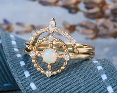 HANDMADE RINGS & BRIDAL SETS by MoissaniteRings on Etsy Wedding Ring Sets Unique, Bridal Ring Sets, Wedding Rings, Diamond Rings, Gold Rings, Handmade Rings, Opal, Unique Jewelry, Rose Gold