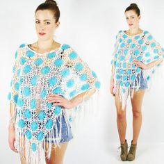 vtg 90s 70s boho hippie GRANNY CROCHET FRINGE poncho shawl cape sweater top OS $24.00