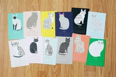 Cat lovers, rejoice! Gingiber has the perfect 2017 Calendar for you to enjoy!  - Featuring 12 original cat illustrations by Gingber - Measures 4x6 inches - Professionally printed on matte card stock - Comes with a wooden easel **This Listing is For The 2017 Calendar**  Copyright 2010-2016 Stacie Bloomfield. All rights reserved.