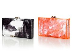 Charlotte Olympia feather hard square clutches