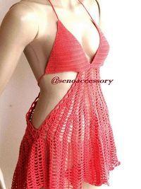 Coral red Crochet Beach Dress summer dress by senoAccessory