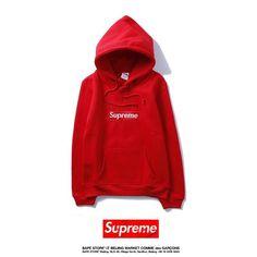 Supreme Bape, Supreme Box Logo Hoodie, Red Hoodie, Sweater Hoodie, Men Sweater, Bape Store, Mens Sweatshirts, Hoodies, Womens Parka