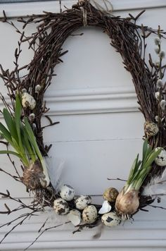 "I could use my homemade wreaths for this - they were very easy to make egg shaped (or ""lopsided"" you might call mine)."