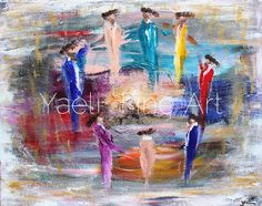 When I started painting this piece, I was feeling lots of bold colors. I was in a bold mood...sometimes it's that simple;) So the background is filled with reds, black and silver. I painted that vertically. I then turned it horizontal, and saw a fire in the middle, so went with that and created a lag baomer scene, completely by accident! But, that's a good thing;) PS - there is an enormous amount of metallics in this piece, which seriously brightens up the room  Colorful dancers painting.
