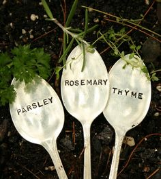 Silverware garden markers!