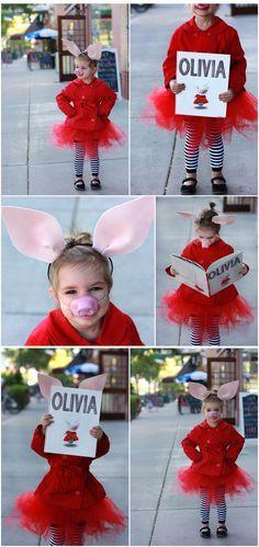 Book Character Halloween Costume: Olivia — Seeker of Happiness Storybook Character Costumes, Character Halloween Costumes, Themed Halloween Costumes, Pig Costumes, Book Day Costumes, Book Week Costume, Storybook Characters, Halloween Books, Holidays Halloween