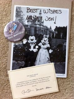 Did you know that if you send Mickey and Minnie Mouse an invitation to your wedding they'll send you back an autographed photo and a 'Just Married' button? Here is the address: Mickey Minnie The Walt Disney Company 500 South Buena Vista Street Burbank, California 9152.