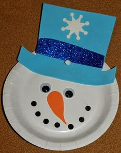 Loving this simple snowman from a paper plate for a winter activity for preschoolers