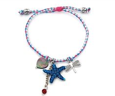 Pink & Blue Corded Charm Bracelet With Blue Starfish