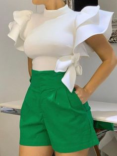 Plain Stand Collar Patchwork Ruffle Sleeve Standard Womens Blouse - Look Fashion Classy Outfits, Chic Outfits, Beautiful Outfits, Baggy Pants, Look Fashion, Womens Fashion, Fashion Trends, Classy Fashion, Cheap Fashion