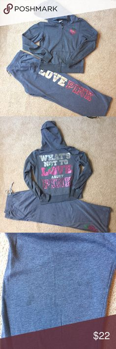 💖PINK Victoria Secret Hoodie & Sweatpants💖 Hoodie and sweatpants in good condition. LOVE PINK down the left leg and a strawberry on the other leg at the bottom. Cute saying on the back of the hoodie. Drawstring pants, no string on hoodie. Flaws seen in the pictures are  a paint mark on the right sleeve, near cuff and oil mark on right leg, not really noticeable, but i know its there lol. Cozy for a relaxing day PINK Victoria's Secret Pants
