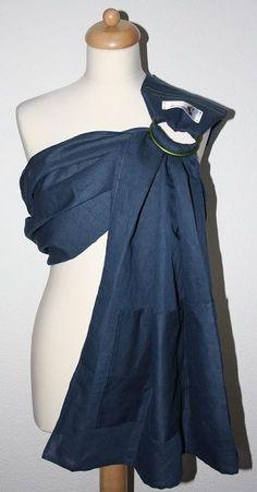 Bandolera artesanal en lino 100%. Azul marino