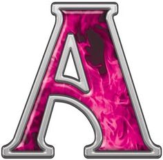 reflective letter a with inferno pink flames