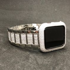 Apple Watch Band Women Silver Series Case Cover Lab Diamond Bezel Stainless Steel Iwatch Bling by Iwatchcandy on Etsy Apple Watch Bands Fashion, Silver Apples, Apple Watch Accessories, Black Apple, Lab Diamonds, Cool Watches, Crystal Rhinestone, Bling, Unique Jewelry