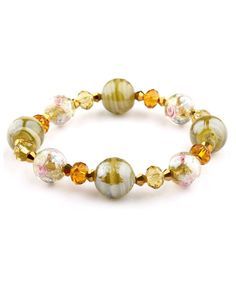 Beautiful Francesca bracelet in a olive color The beads are murano glass and czech crystals. Handmade beads strung on a elastic cord. 7INCH BRACELET