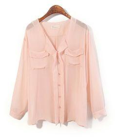 Peach Pink Chiffon Blouse