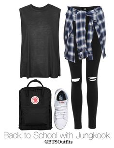 Back to School with Jungkook by btsoutfits on Polyvore featuring polyvore fashion style Boutique Topshop Vans Fjällräven Miharayasuhiro clothing