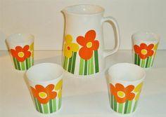 Very Rare Figgjo Flint -Annemarie- Kirsten Decor Large Jug and 4 Beakers (Mugs) | eBay