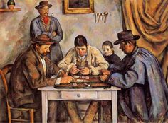 """""""Les joueurs de cartes""""Cézanne  Emplea una gama cromática muy personal, lo que hace que sus obras sean reconocibles, con colores como el ocre o el verde. Emplea una pincelada constructiva, muy meditada, ordenada, todo pintado en la misma dirección."""