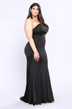 Available In Black and Hunter Green Long Mermaid Gown Elegant Train Detail Strapless Fit Padded Lining Zipper Back Closure Self: 95% Polyester 5% Spandex Lining: 100% Polyester